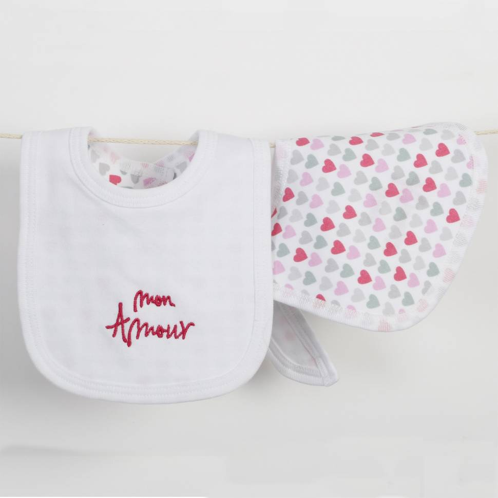 Babero recién nacido PARIS rosa
