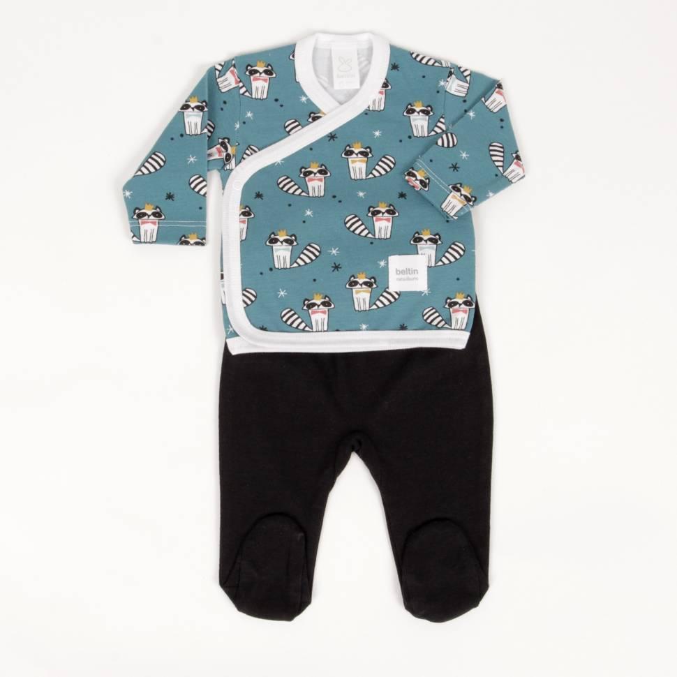 Primera puesta para bebé con divertidos mapaches de la colección RACOON de la marca Beltin newborn