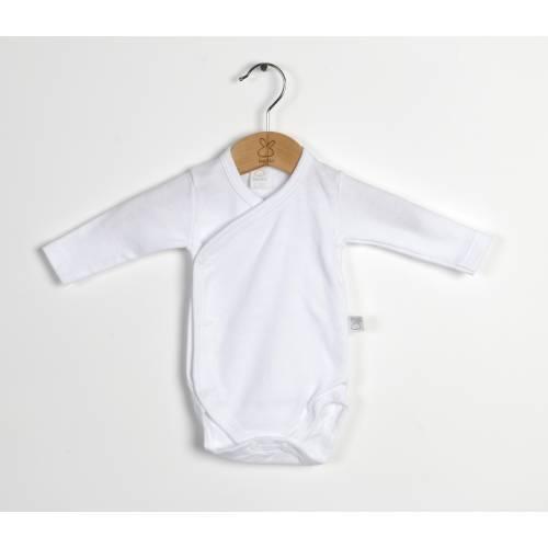 Body natal manga larga AFELPADO blanco