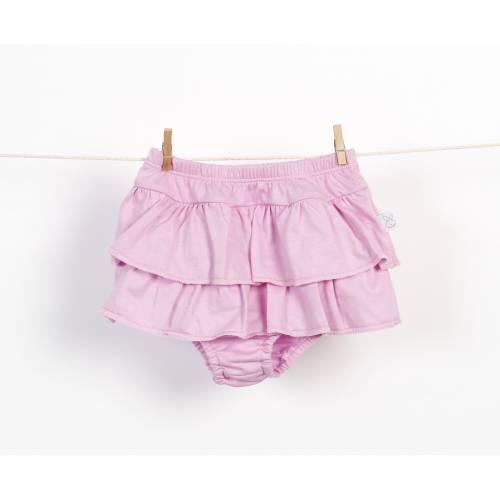 Braguita falda de volantes chicle