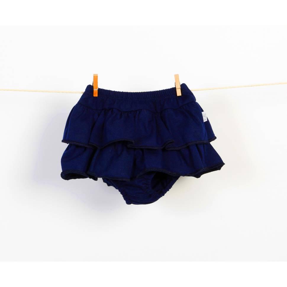 Braguita falda de volantes azul marino
