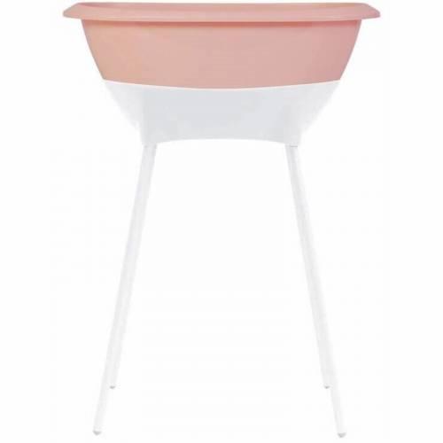 Bañera con patas y desagüe Luma rosa