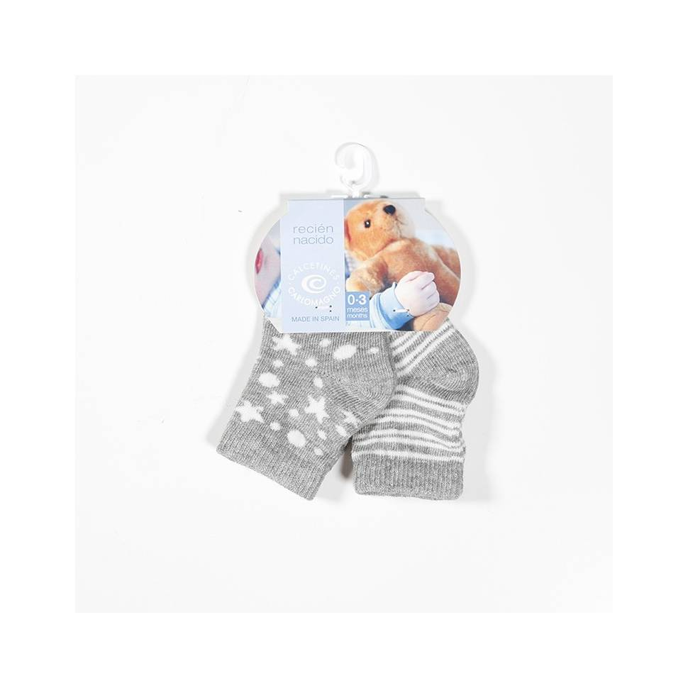 Pack 2 calcetines Carlomagno gris Talla 0 a 3 meses