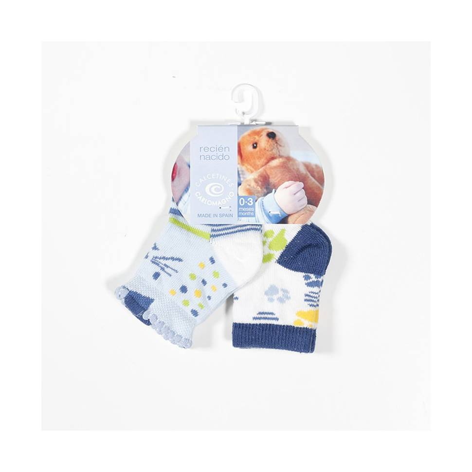 Pack 2 calcetines Carlomagno azul Talla 0 a 3 meses