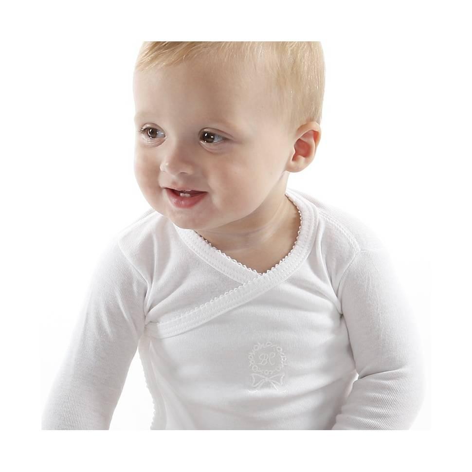 Body bebé manga larga con bordado DUNIA blanco fotografiado de cerca