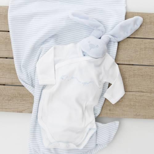 Body manga larga con bordado TICO azul de la marca beltin newborn con arrullo
