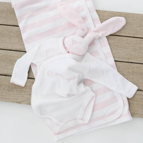 Body manga larga con bordado TICO rosa