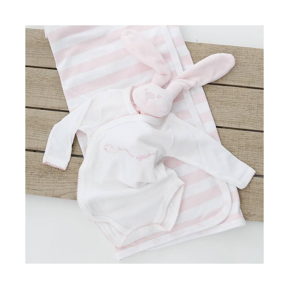 Body manga larga de la marca Beltin newborn con bordado TICO rosa