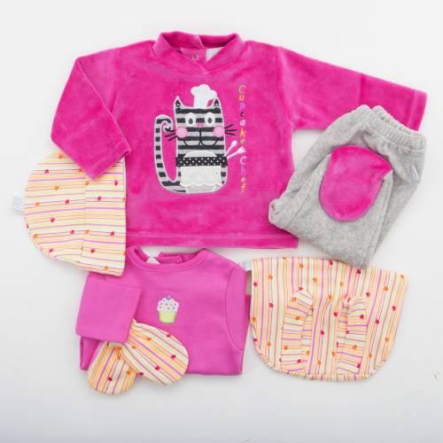Pack recién nacido CHEF de camiseta de manga larga bordada con ranita, gorrito, manoplas y conjunto de jersey con pantalón