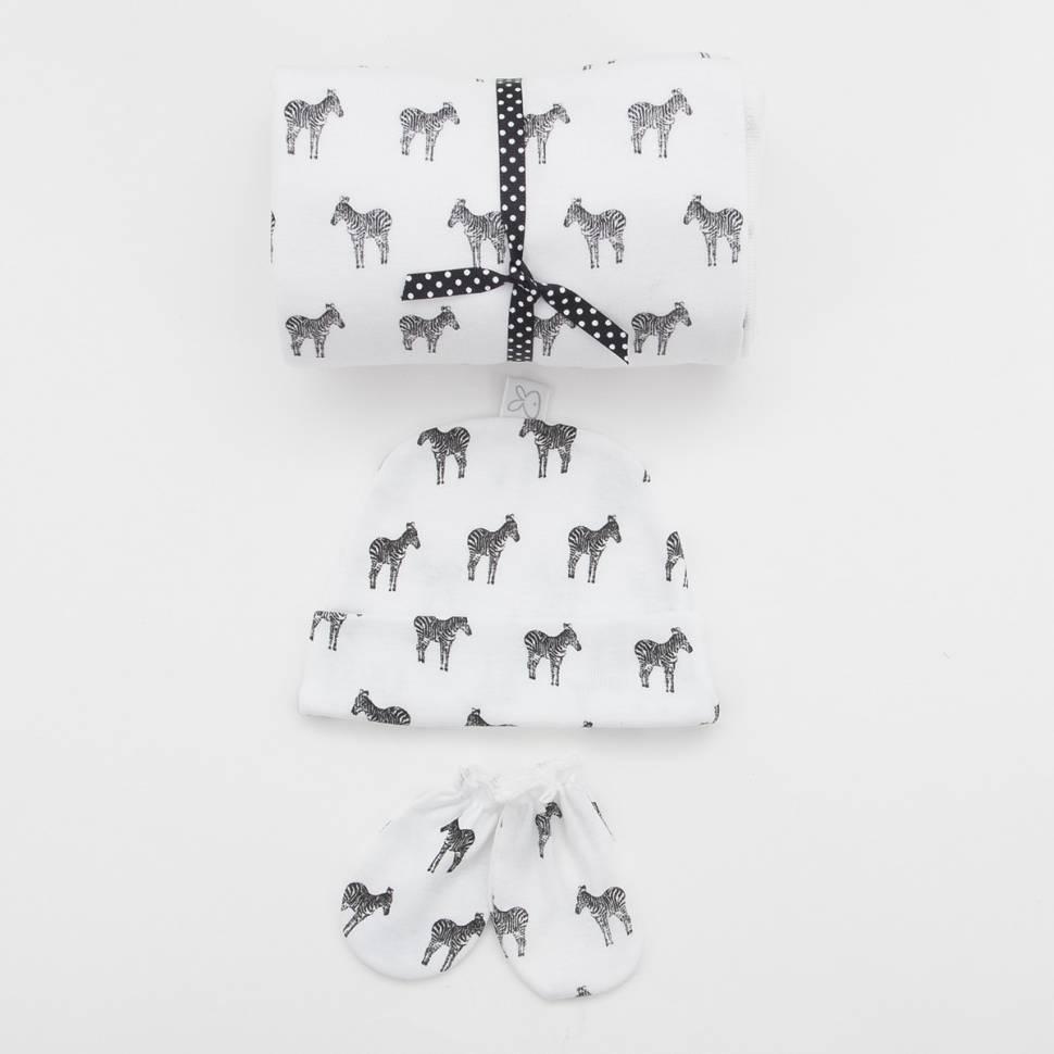 Pack recién nacido de arrullo, gorrito y manoplas Beltin newborn modelo Zebra