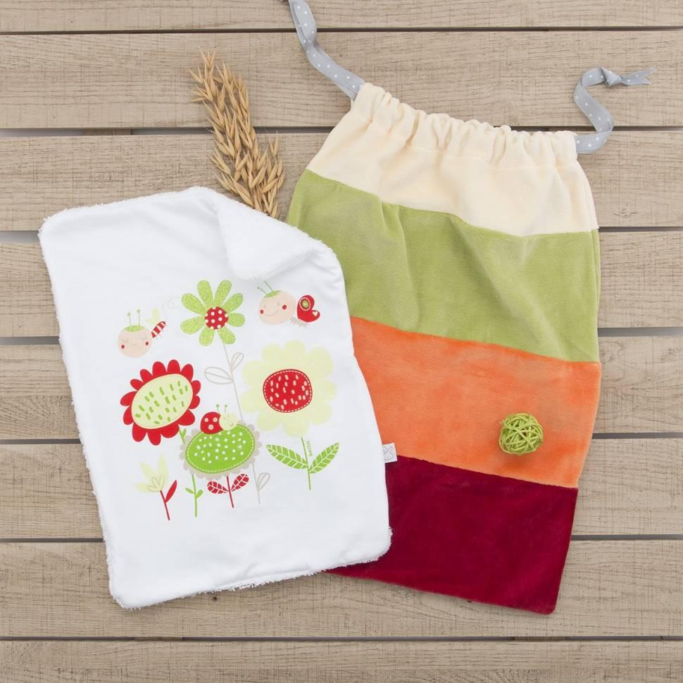 Pack recién nacido compuesto por una toallita de lactancia y una bolsa donde guardar una muda.