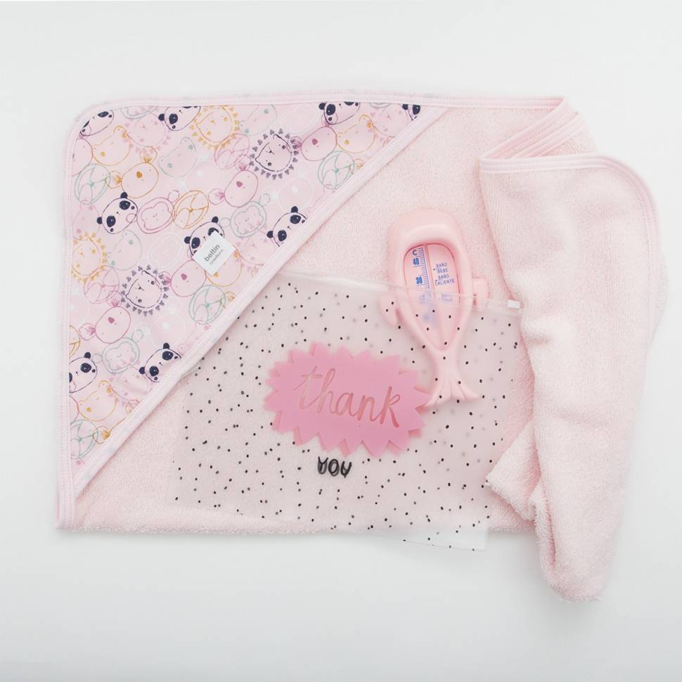 Pack capa de baño en algodón 100% estampado PANDUKI rosa con termómetro y bolsa/neceser de cierre zip multiusos