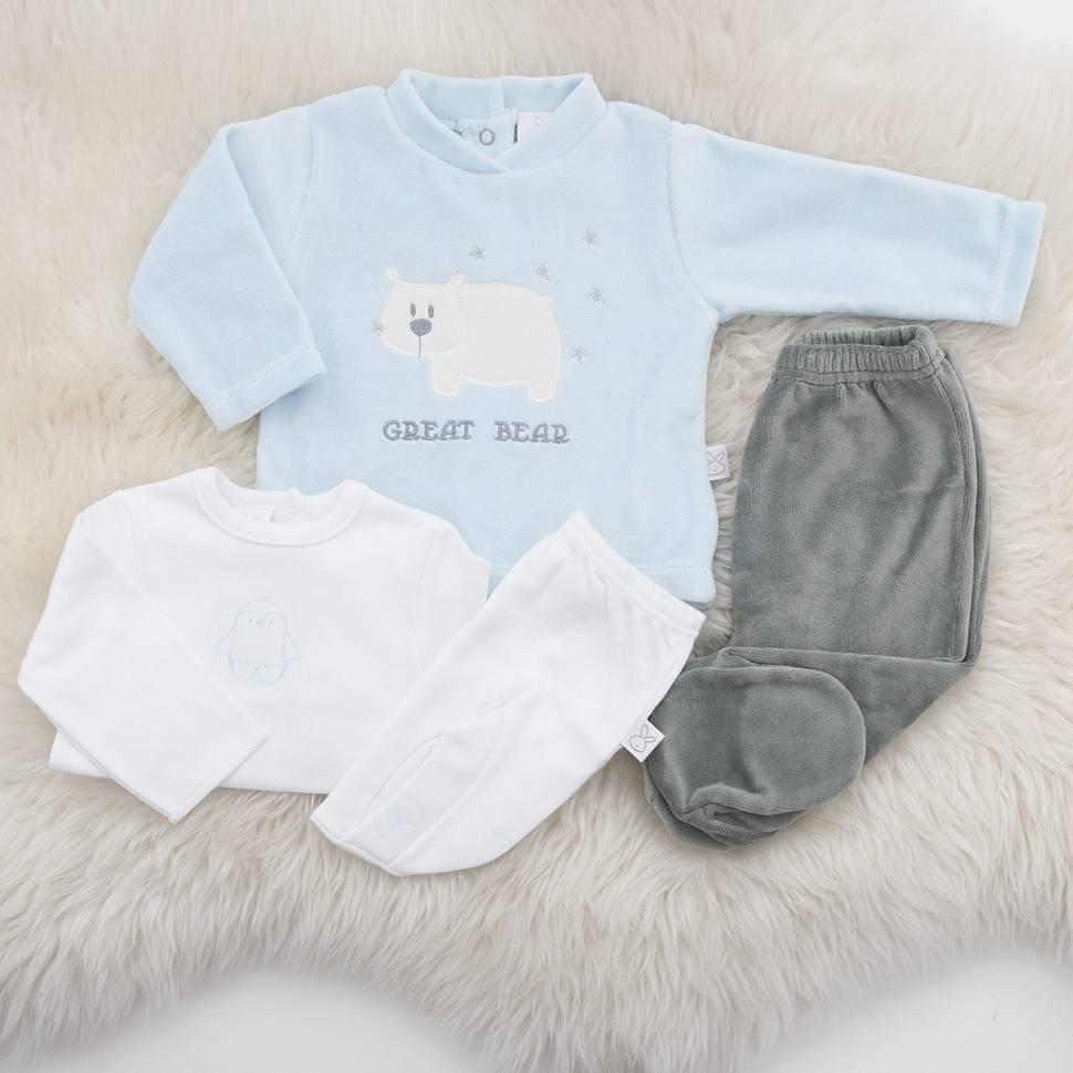 Pack recién nacido compuestro por una primera puesta para bebé de camiseta abierta por la espalda y ranita en algodón 100% y con