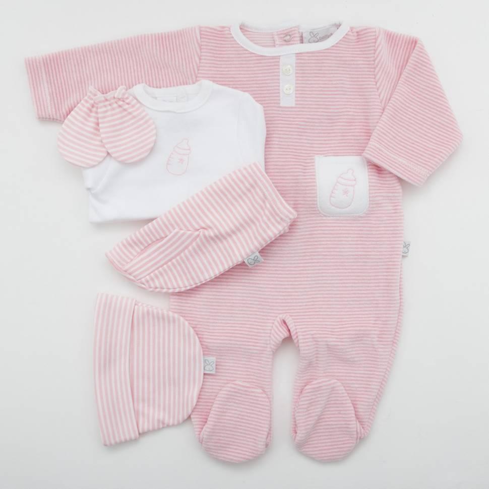 Pack recién nacido de primera puesta para bebé de camiseta con ranita bordada en color rosa, gorrito, manoplas y pijama de terci