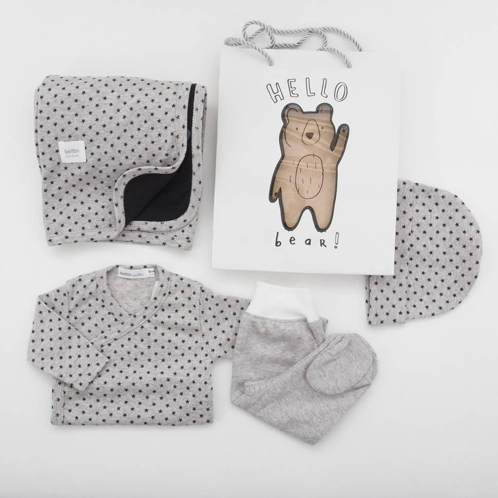 Pack recién nacido de primera puesta para bebé de camiseta cruzada con pantalón en gris vigoré con estrellas negras estampadas,