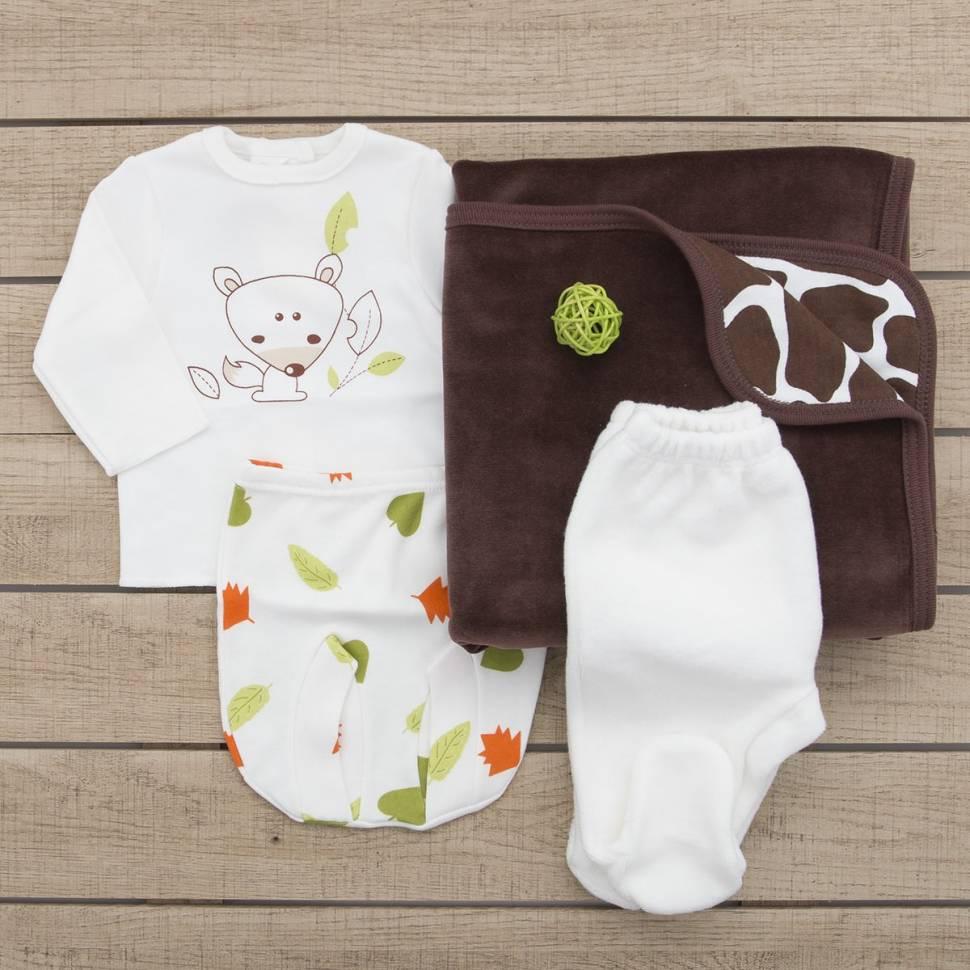 Pack recién nacido de primera puesta fox, pantalón de terciopelo y arrullo marrón