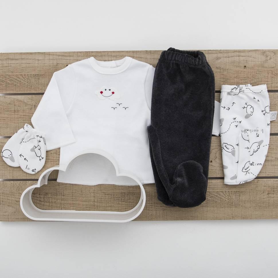 Pack recién nacido de primera puesta para bebé, manoplas y pantalón de terciopelo a juego