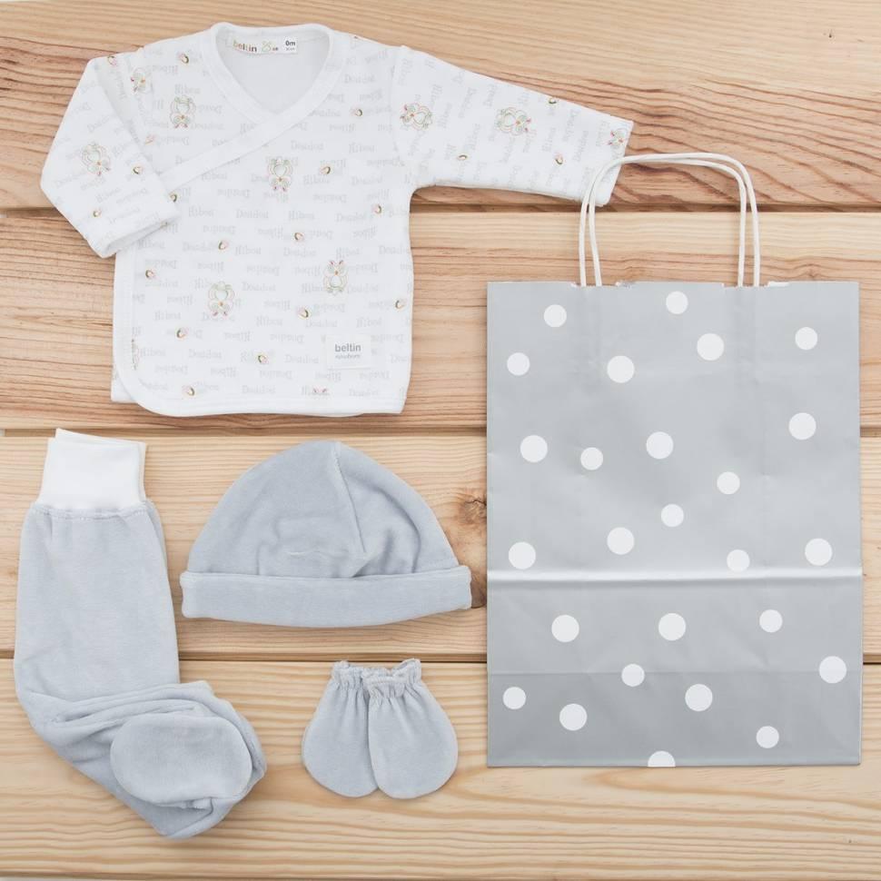 Pack recién nacido de primera puesta de bebé de terciopelo con buhos estampados, gorrito y manoplas a juego. con bolsa de regalo
