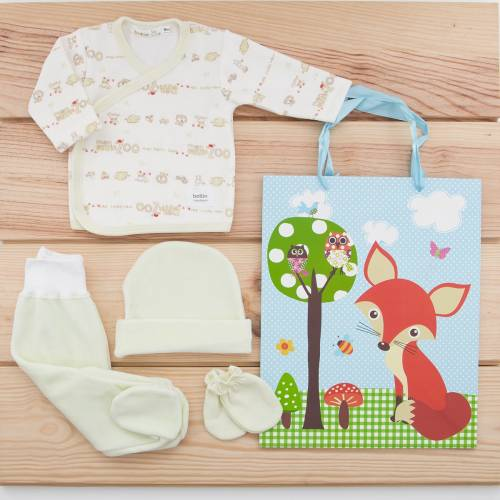 Pack recién nacido de primera puesta de bebé en terciopelo modelo león verde con gorro y manoplas a juego y una bolsa de regalo