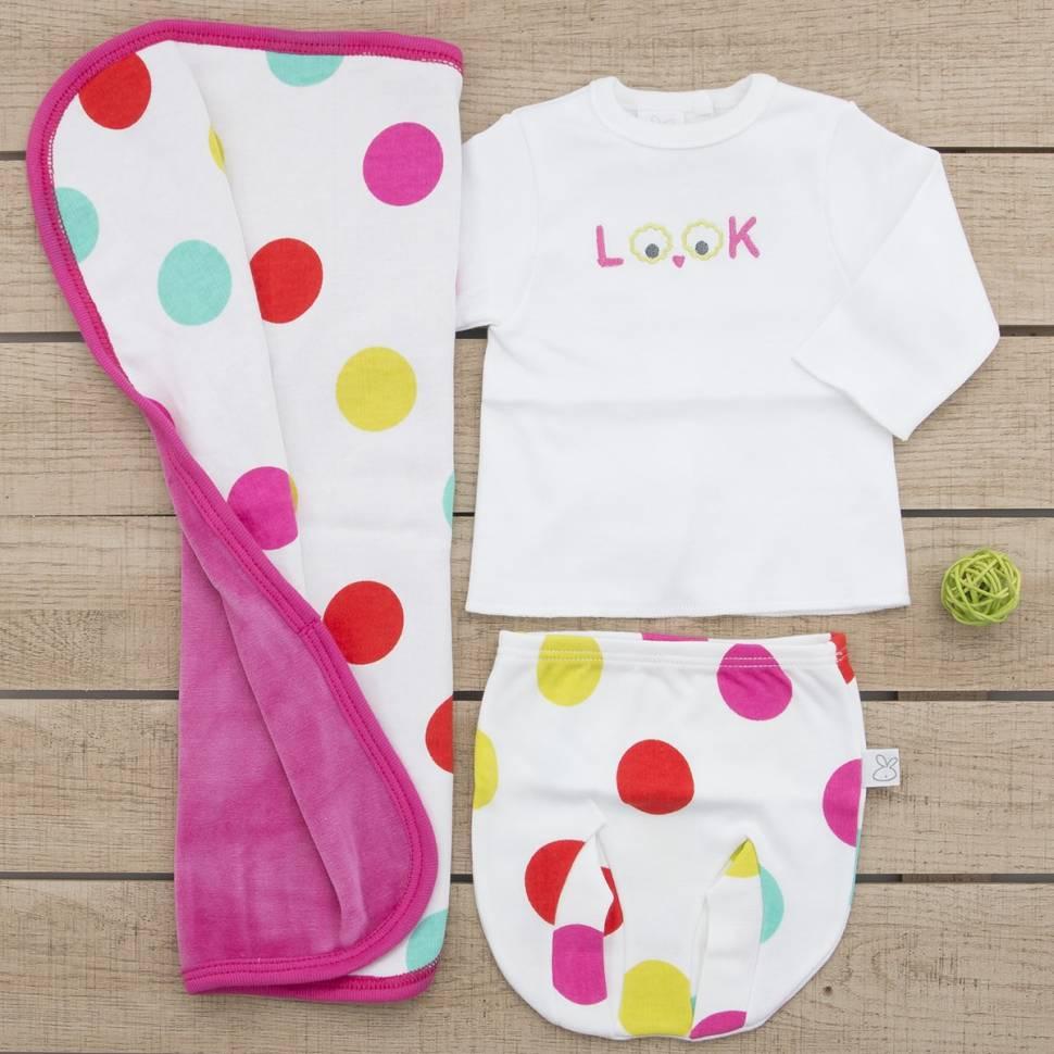 Pack recién nacido de primera puesta para bebé y trapito de lactancia modelo Look fucsia
