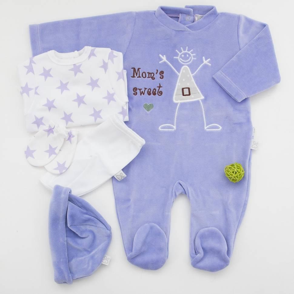 Pack de primera puesta para bebé con camiseta manga larga y ranita, manoplas y gorro a juego y pijama de terciopelo Epi