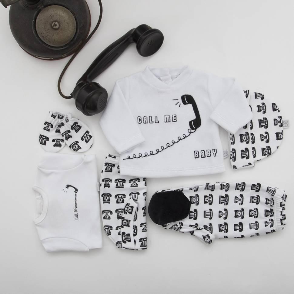 Pack PHONE de primera puesta para bebé de camiseta con ranita, gorrito y manoplas a juego y jersey de terciopelo con pantalón .