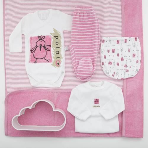 Pack de primera puesta para bebé de camiseta con ranita, body natal, pantalón de terciopelo y arrullo a juego. Modelo Max rosa
