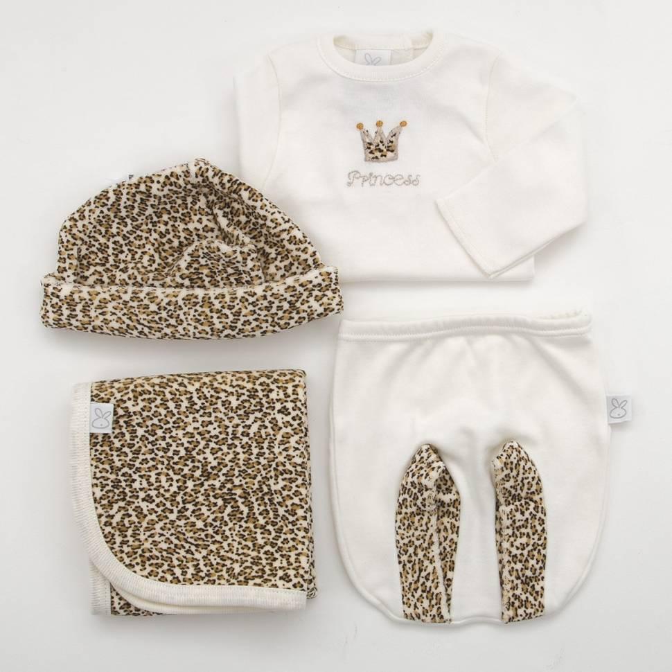 Pack de primera puesta para bebé de camiseta con ranita, gorro y trapito de lactancia a juego modelo Queen