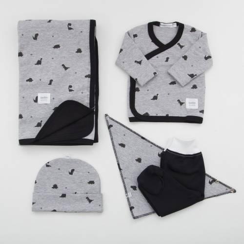 Pack de primera puesta para bebé, gorrito, bandana y arrullo modelo Rex