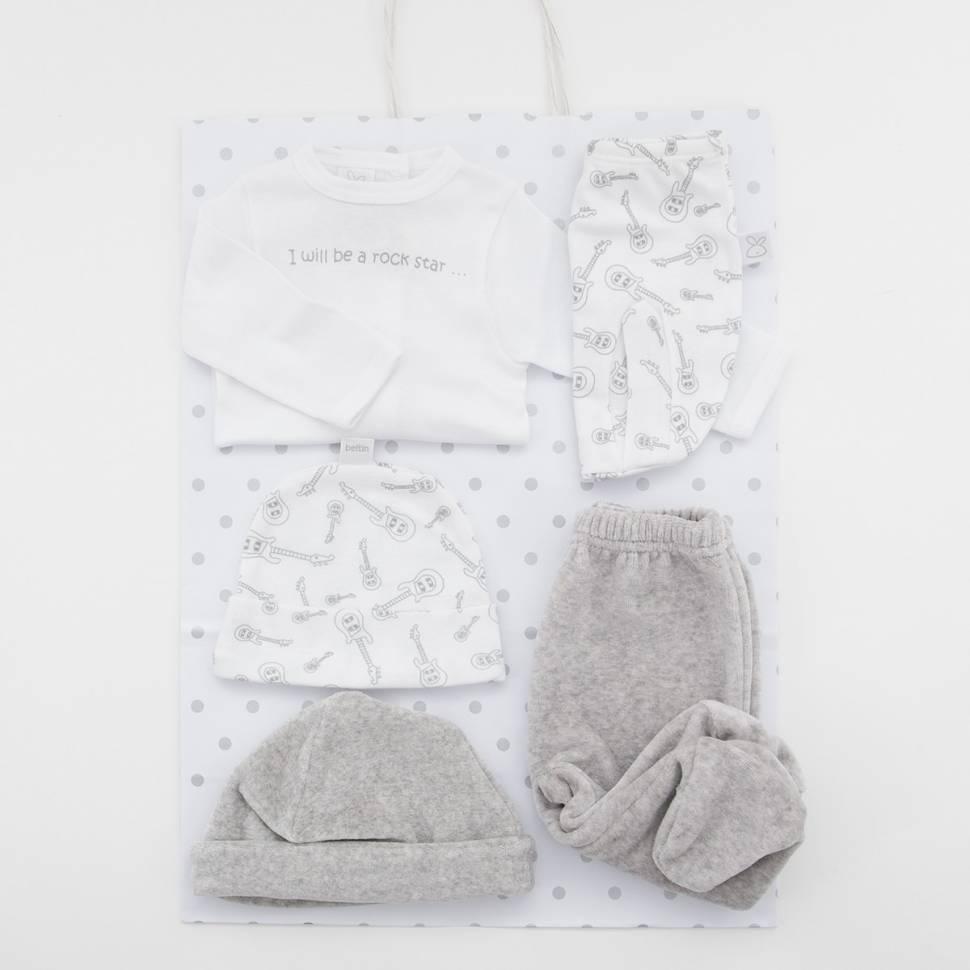 Pack de primera puesta para bebé, pantalón de terciopelo, un gorrito de algodón y otro de terciopelo. Bolsa de regalo