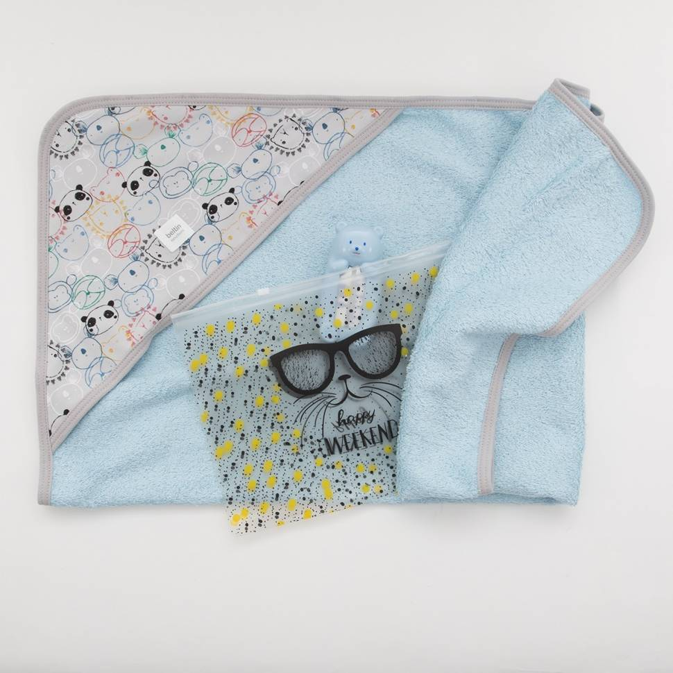 Pack capa baño PANDUKI AZUL con bolsa/neceser tcon cierre zip y osito termómetro de baño.