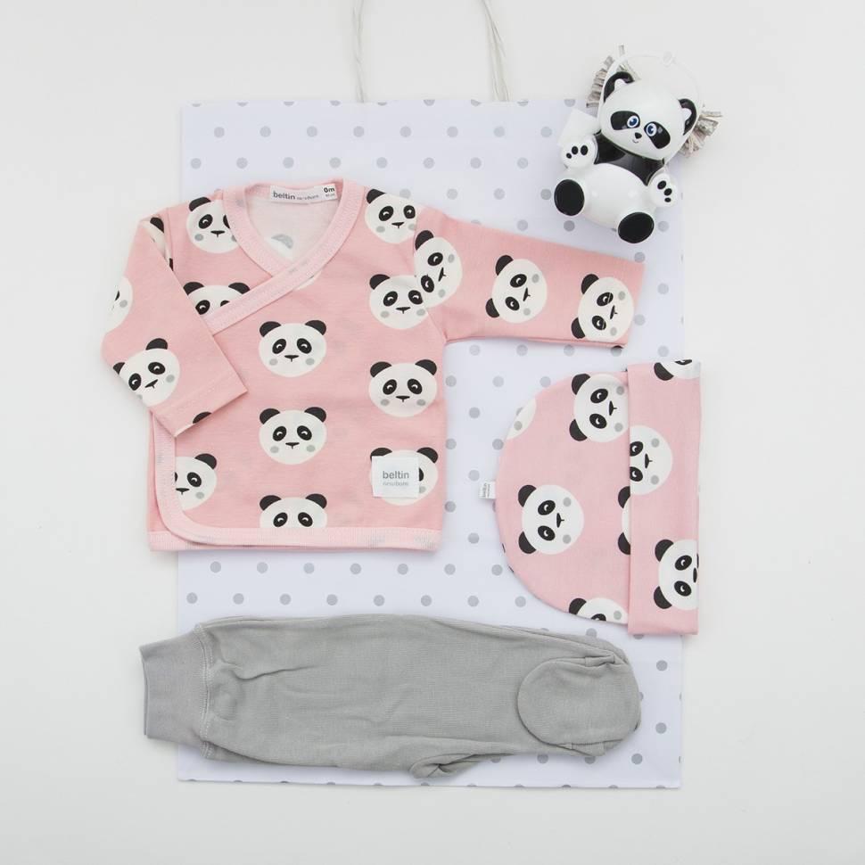 Pack de primera puesta con gorrito a juego, cajita porta chupete y bolsa de regalo. Modelo Tomy rosa