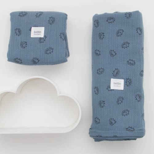 Pack de dos muselinas para bebé ERIZOS color azul