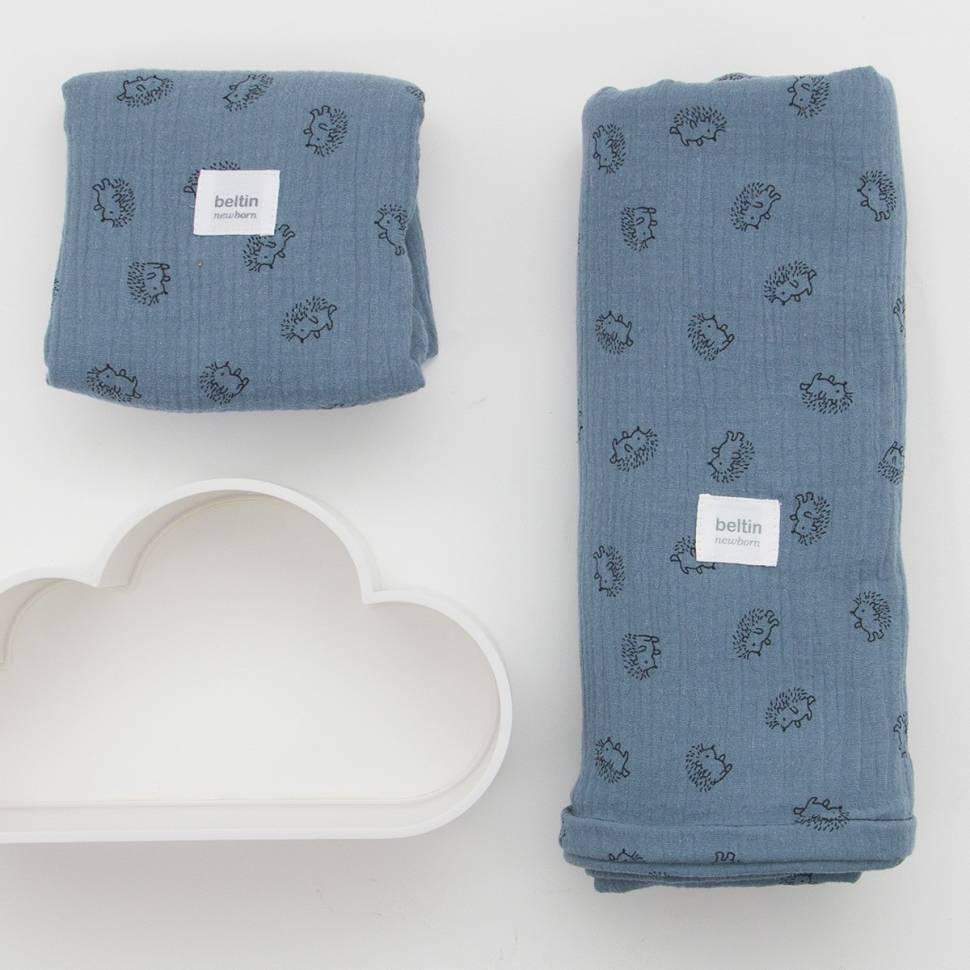 Pack de muselina maxi de 125x125 cms. y otra mini de 60x60 cms. modelo erizos en color azul plomo de 100% algodón