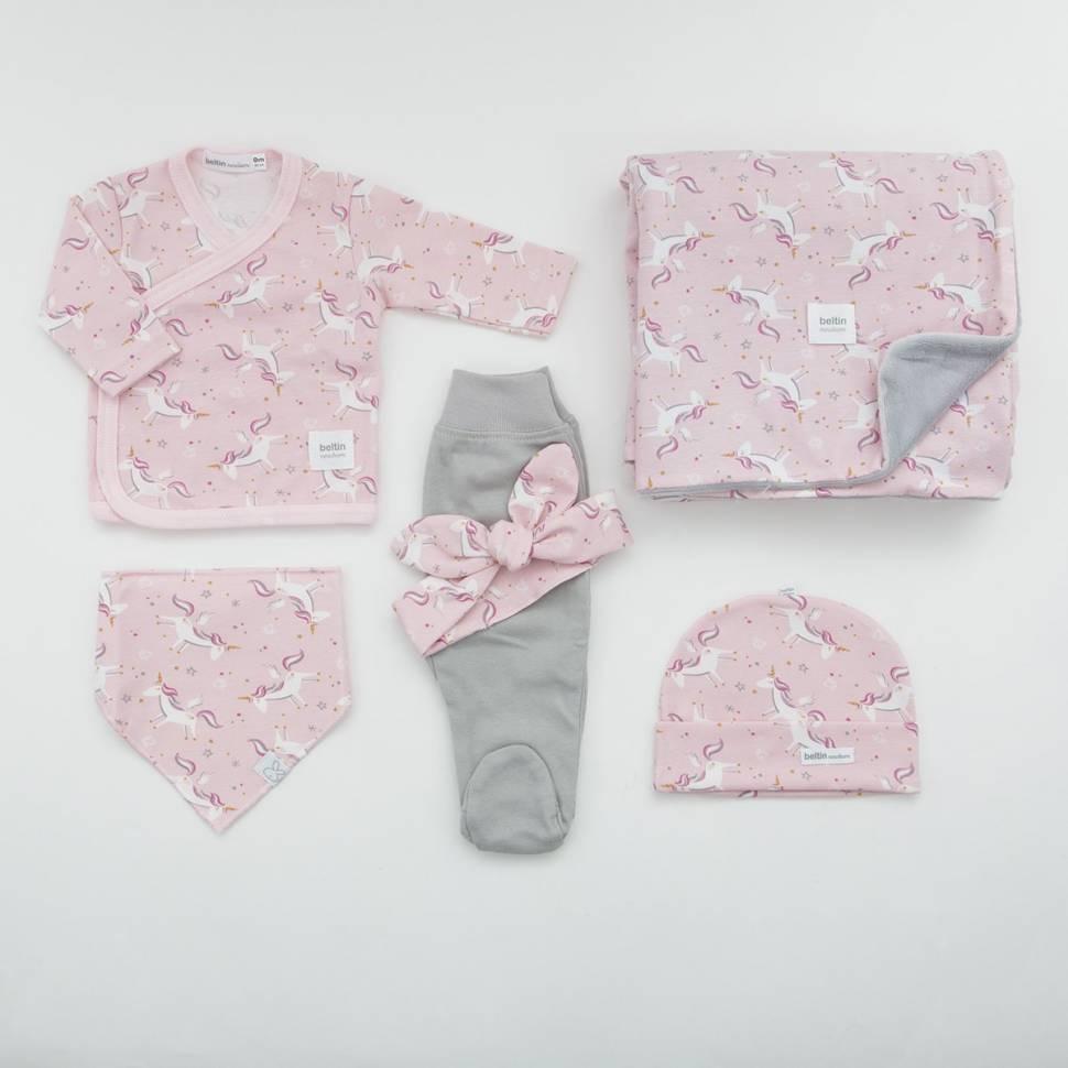 Pack recién nacido LICORN. Camiseta cruzada, polaina, gorrito, bandana, manta soft y felpa de bebé a conjunto.