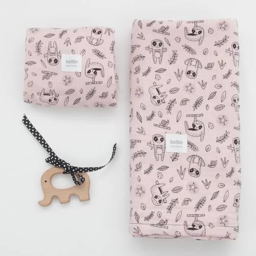 Pack de muselina maxi de 125x125 cms. y otra mini de 60x60 cms. modelo perezoso en color rosa de 100% algodón