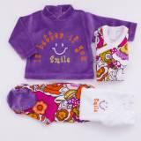 Pack recién nacido de dos bodies de manga larga, jersey de terciopelo bordado y pantalón a juego