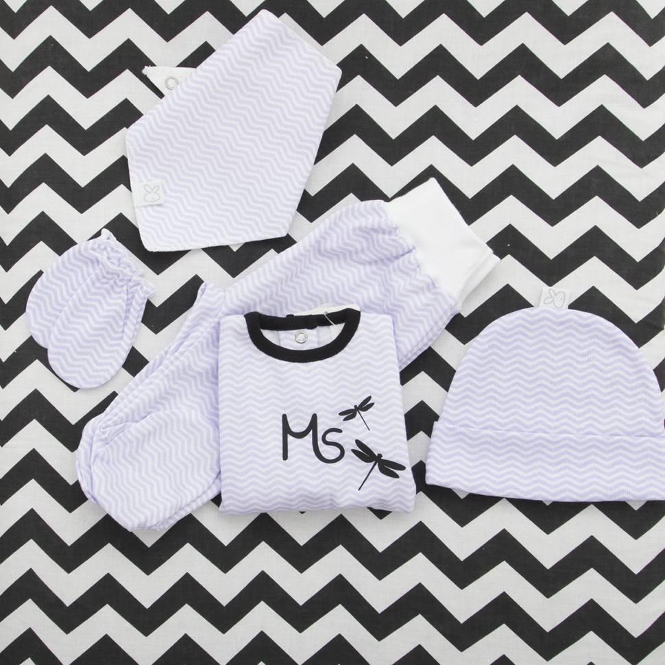 Pack recién nacido de jersey con pantalón, gorrito, bandana y manoplas modelo zig zag lila