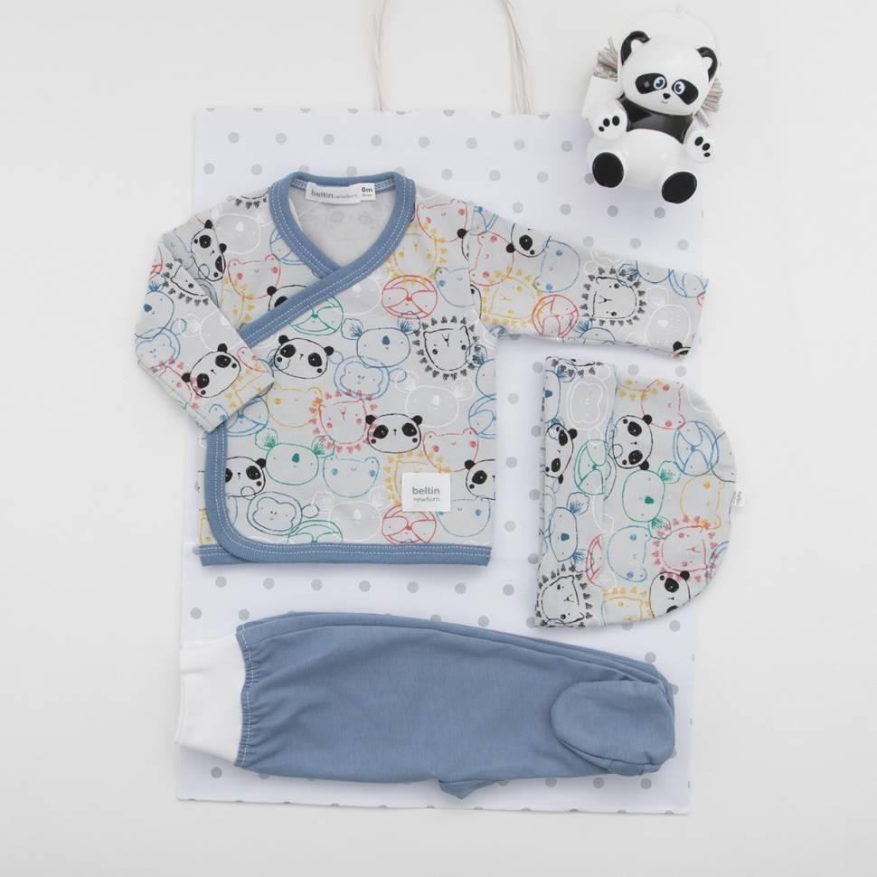 Pack de primera puesta para bebé de camiseta cruzada con pantalón, gorrito a juego y cajita para chupete. Modelo Panduki azul
