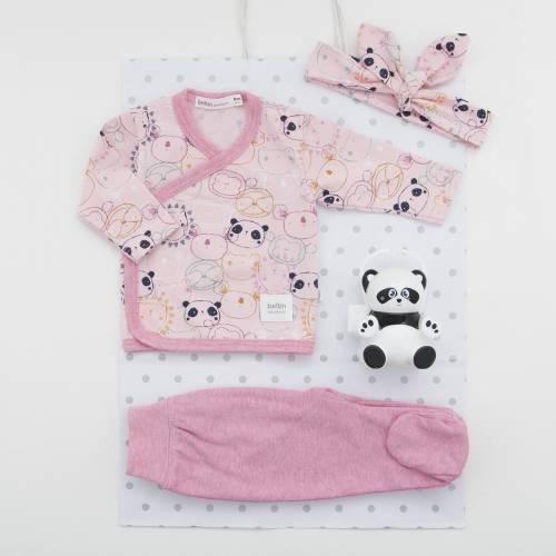 Pack de primera puesta para bebé de camiseta cruzada con pantalón, diadema a juego y cajita para chupete. Modelo Panduki rosa