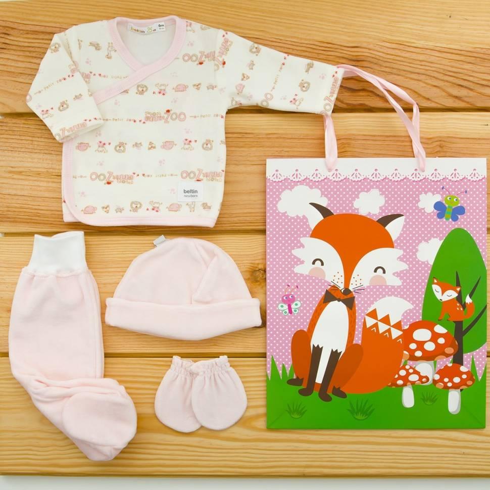 Pack recién nacido primera puesta para bebé en terciopelo modelo león rosa con gorro y manoplas a juego. Bolsa de regalo