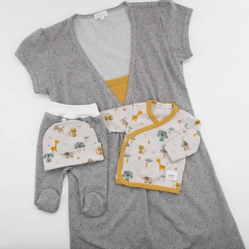 Pack camisón premamá con primera puesta bebé ANIMALS