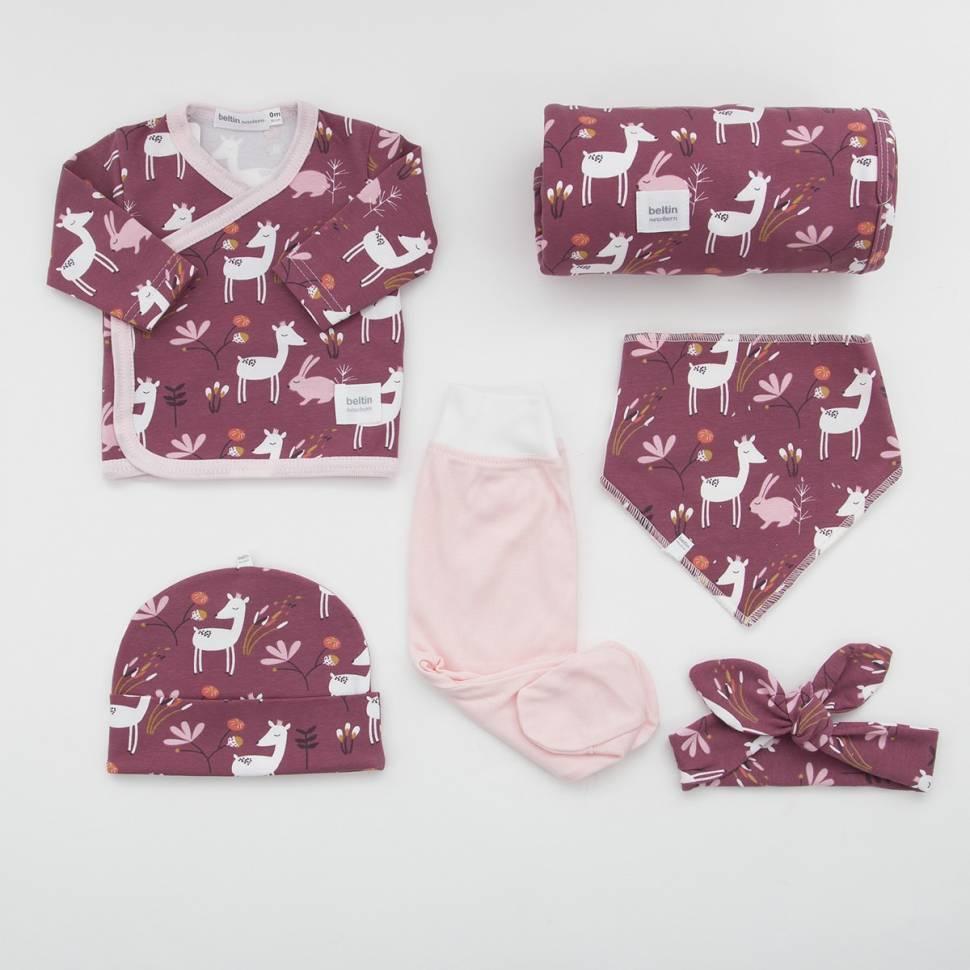 Pack recién nacido BAMBI. Cruzado, pantalón, gorro, bandana, arrullo de algodón y felpa bebé