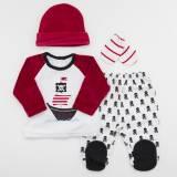 Pack jersey bordado, polaina, gorrito y manoplas para bebé modelo CAPITAN