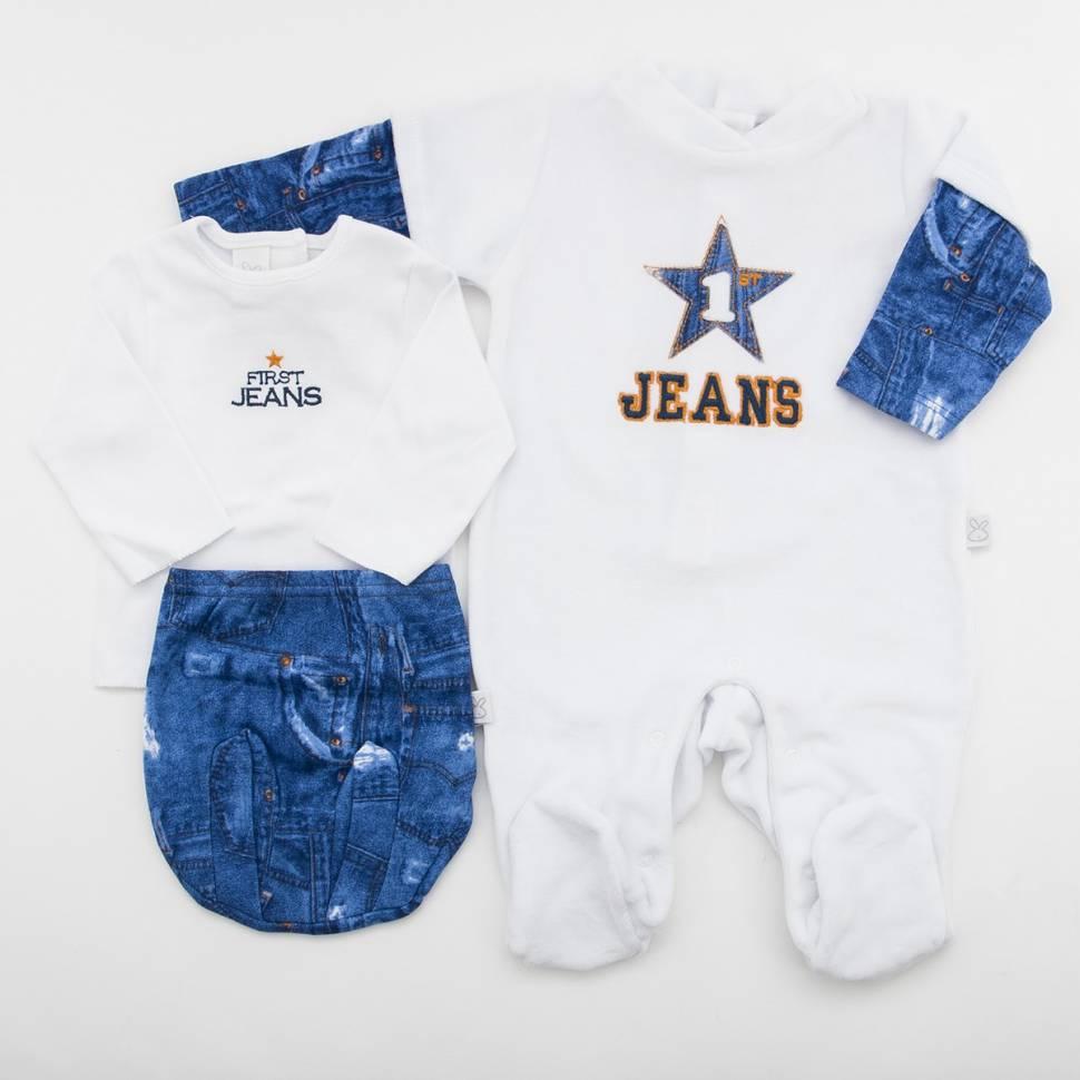 Pack pijama, camiseta abierta por detrás y ranita de beltin newborm modelo JEANS