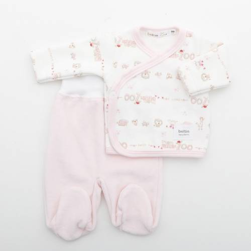 Conjunto LEON ROSA Terciopelo para bebés Prematuro compuesto por jersey estampado con animales de la selva y pantalón liso.