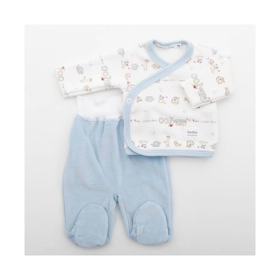 Conjunto LEON AZUL Terciopelo para bebés Prematuro compuesto por jersey estampado con animales de la selva y pantalón liso.