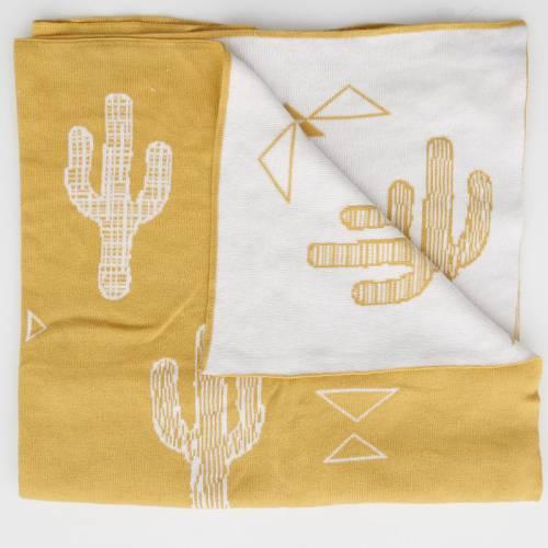 T00877 Manta de punto Cactus Mostaza